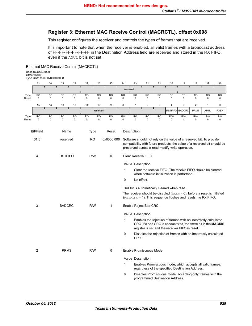 LM3S9D81 ,Texas Instruments厂商,Stellaris LM3S Microcontroller 108-NFBGA -40 to 85, LM3S9D81 datasheet预览  第929页