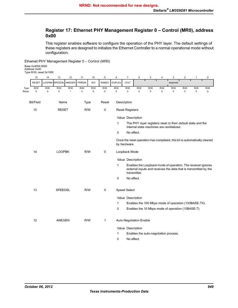 LM3S9D81 ,Texas Instruments厂商,Stellaris LM3S Microcontroller 108-NFBGA -40 to 85, LM3S9D81 datasheet预览  第949页