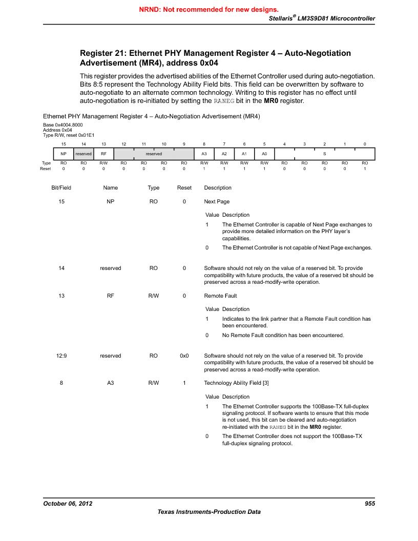 LM3S9D81 ,Texas Instruments厂商,Stellaris LM3S Microcontroller 108-NFBGA -40 to 85, LM3S9D81 datasheet预览  第955页