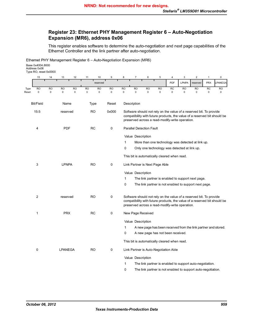 LM3S9D81 ,Texas Instruments厂商,Stellaris LM3S Microcontroller 108-NFBGA -40 to 85, LM3S9D81 datasheet预览  第959页