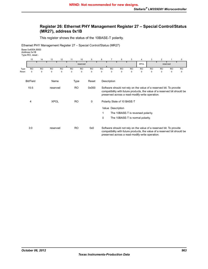 LM3S9D81 ,Texas Instruments厂商,Stellaris LM3S Microcontroller 108-NFBGA -40 to 85, LM3S9D81 datasheet预览  第963页