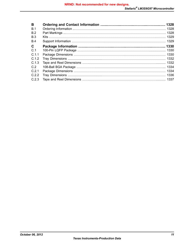 LM3S9G97 ,Texas Instruments厂商,Stellaris LM3S Microcontroller 108-NFBGA -40 to 85, LM3S9G97 datasheet预览  第11页