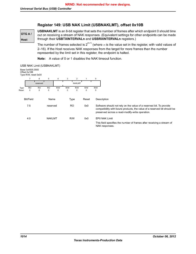 LM3S9G97 ,Texas Instruments厂商,Stellaris LM3S Microcontroller 108-NFBGA -40 to 85, LM3S9G97 datasheet预览  第1014页