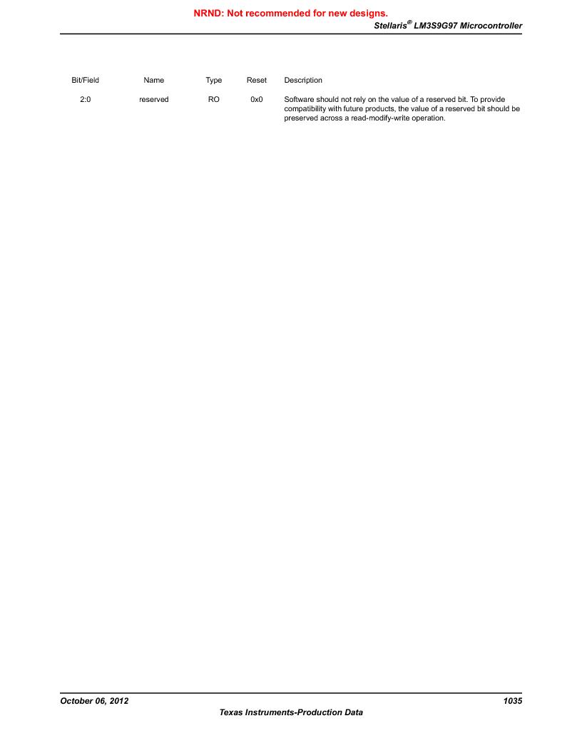 LM3S9G97 ,Texas Instruments厂商,Stellaris LM3S Microcontroller 108-NFBGA -40 to 85, LM3S9G97 datasheet预览  第1035页