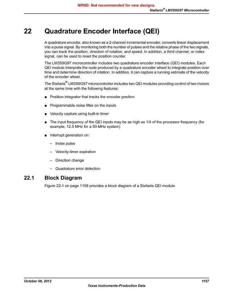 LM3S9G97 ,Texas Instruments厂商,Stellaris LM3S Microcontroller 108-NFBGA -40 to 85, LM3S9G97 datasheet预览  第1157页