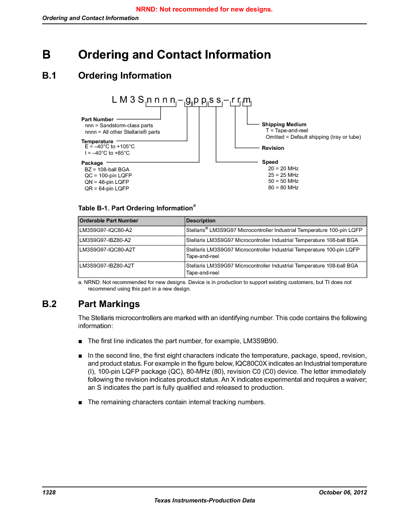LM3S9G97 ,Texas Instruments厂商,Stellaris LM3S Microcontroller 108-NFBGA -40 to 85, LM3S9G97 datasheet预览  第1328页