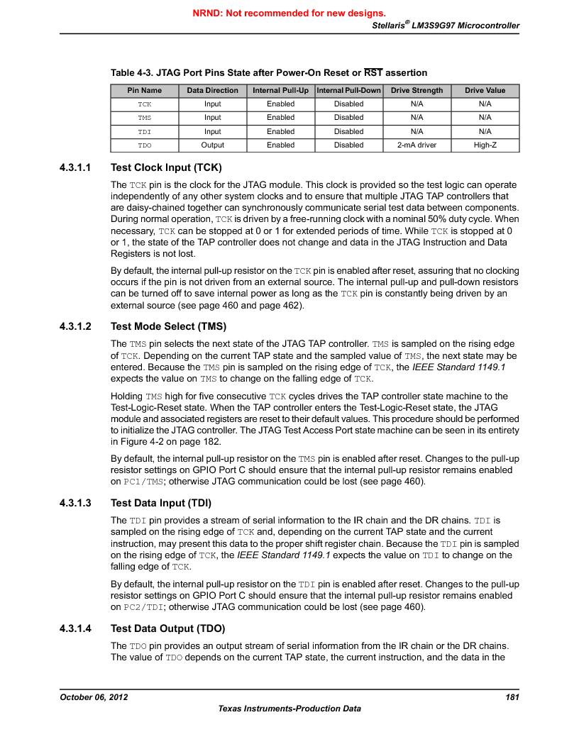 LM3S9G97 ,Texas Instruments厂商,Stellaris LM3S Microcontroller 108-NFBGA -40 to 85, LM3S9G97 datasheet预览  第181页