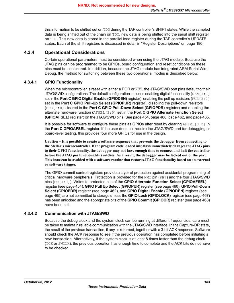 LM3S9G97 ,Texas Instruments厂商,Stellaris LM3S Microcontroller 108-NFBGA -40 to 85, LM3S9G97 datasheet预览  第183页