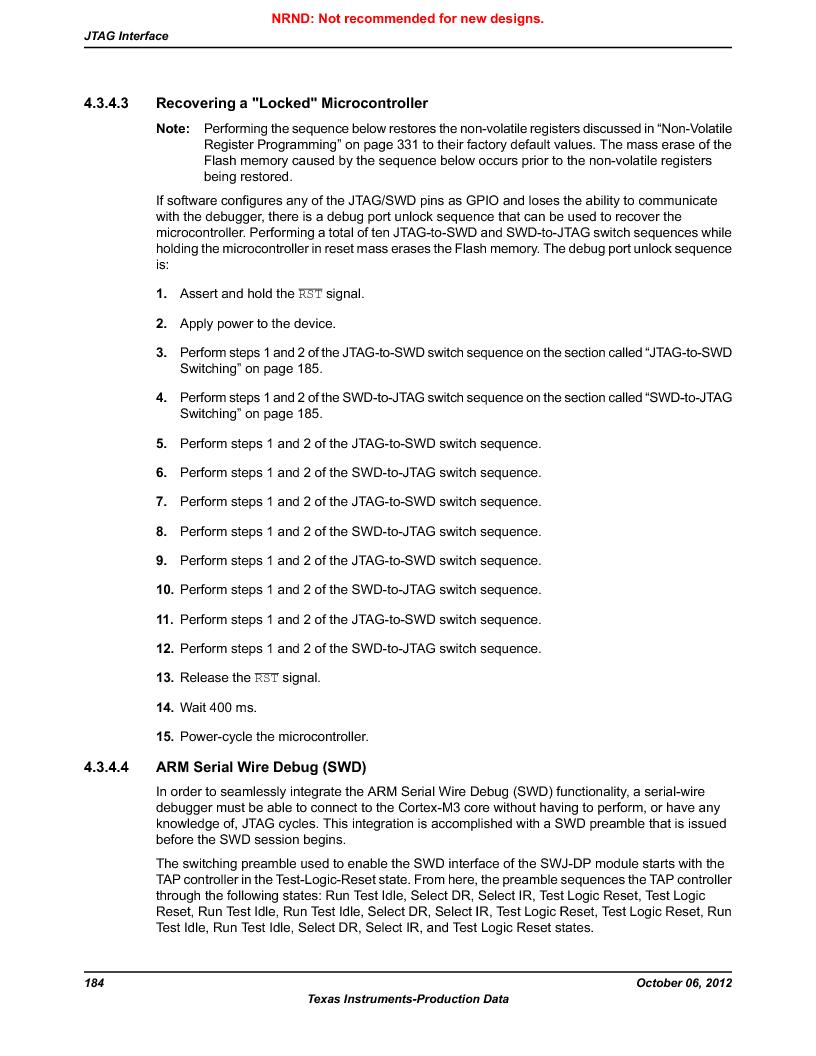 LM3S9G97 ,Texas Instruments厂商,Stellaris LM3S Microcontroller 108-NFBGA -40 to 85, LM3S9G97 datasheet预览  第184页