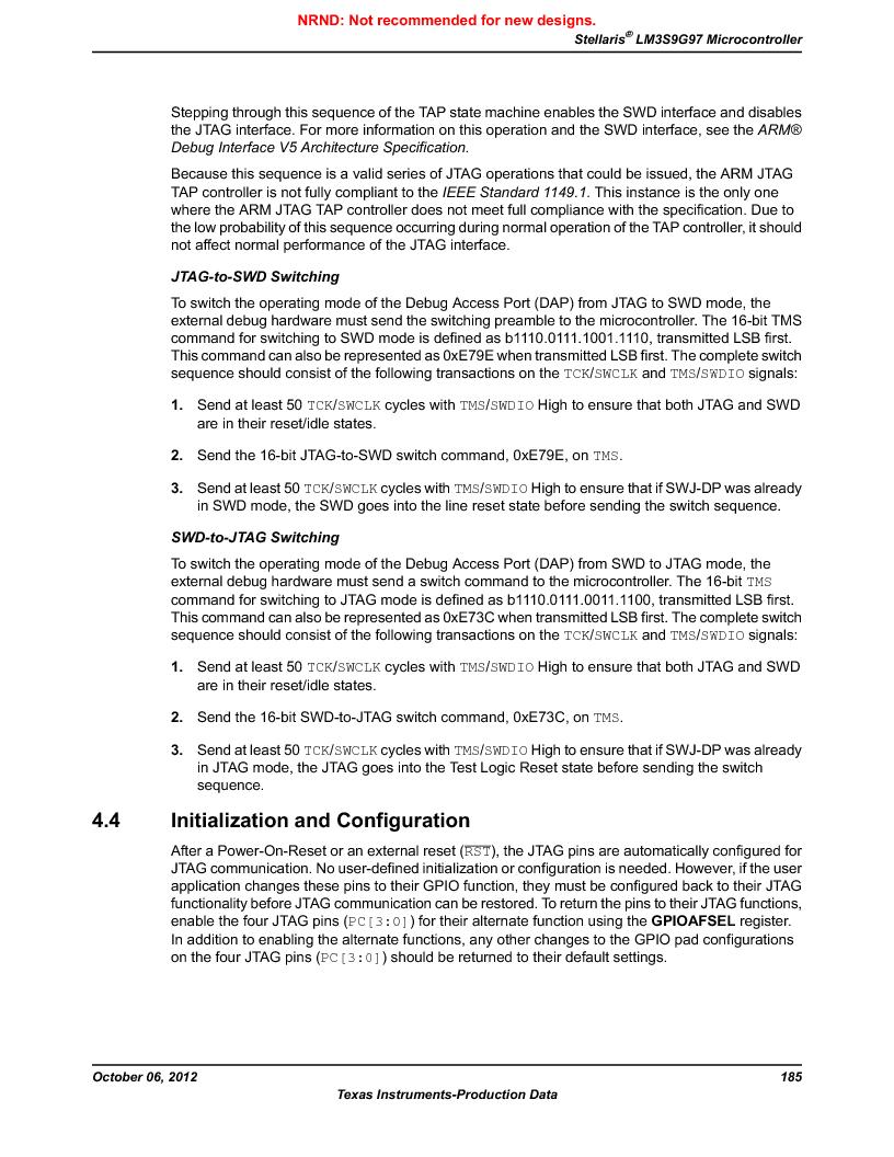 LM3S9G97 ,Texas Instruments厂商,Stellaris LM3S Microcontroller 108-NFBGA -40 to 85, LM3S9G97 datasheet预览  第185页