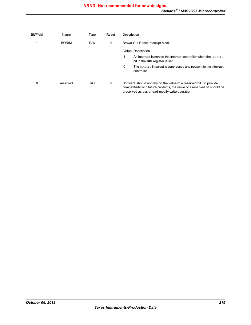 LM3S9G97 ,Texas Instruments厂商,Stellaris LM3S Microcontroller 108-NFBGA -40 to 85, LM3S9G97 datasheet预览  第215页