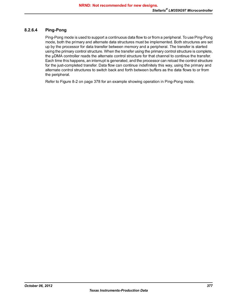 LM3S9G97 ,Texas Instruments厂商,Stellaris LM3S Microcontroller 108-NFBGA -40 to 85, LM3S9G97 datasheet预览  第377页