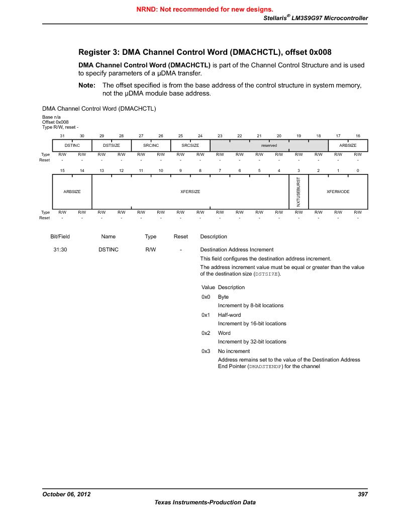 LM3S9G97 ,Texas Instruments厂商,Stellaris LM3S Microcontroller 108-NFBGA -40 to 85, LM3S9G97 datasheet预览  第397页