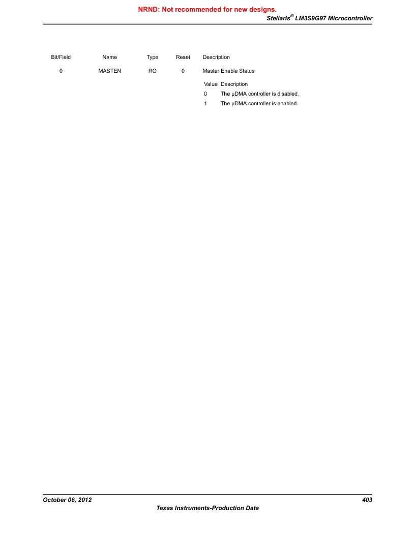 LM3S9G97 ,Texas Instruments厂商,Stellaris LM3S Microcontroller 108-NFBGA -40 to 85, LM3S9G97 datasheet预览  第403页