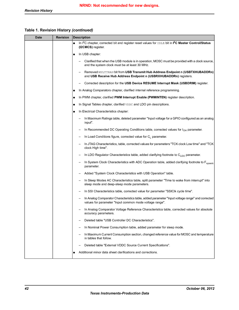 LM3S9G97 ,Texas Instruments厂商,Stellaris LM3S Microcontroller 108-NFBGA -40 to 85, LM3S9G97 datasheet预览  第42页