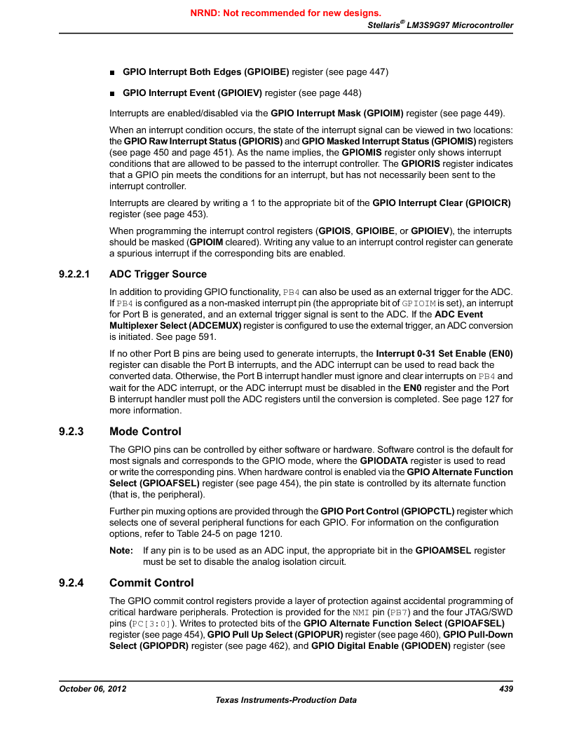 LM3S9G97 ,Texas Instruments厂商,Stellaris LM3S Microcontroller 108-NFBGA -40 to 85, LM3S9G97 datasheet预览  第439页