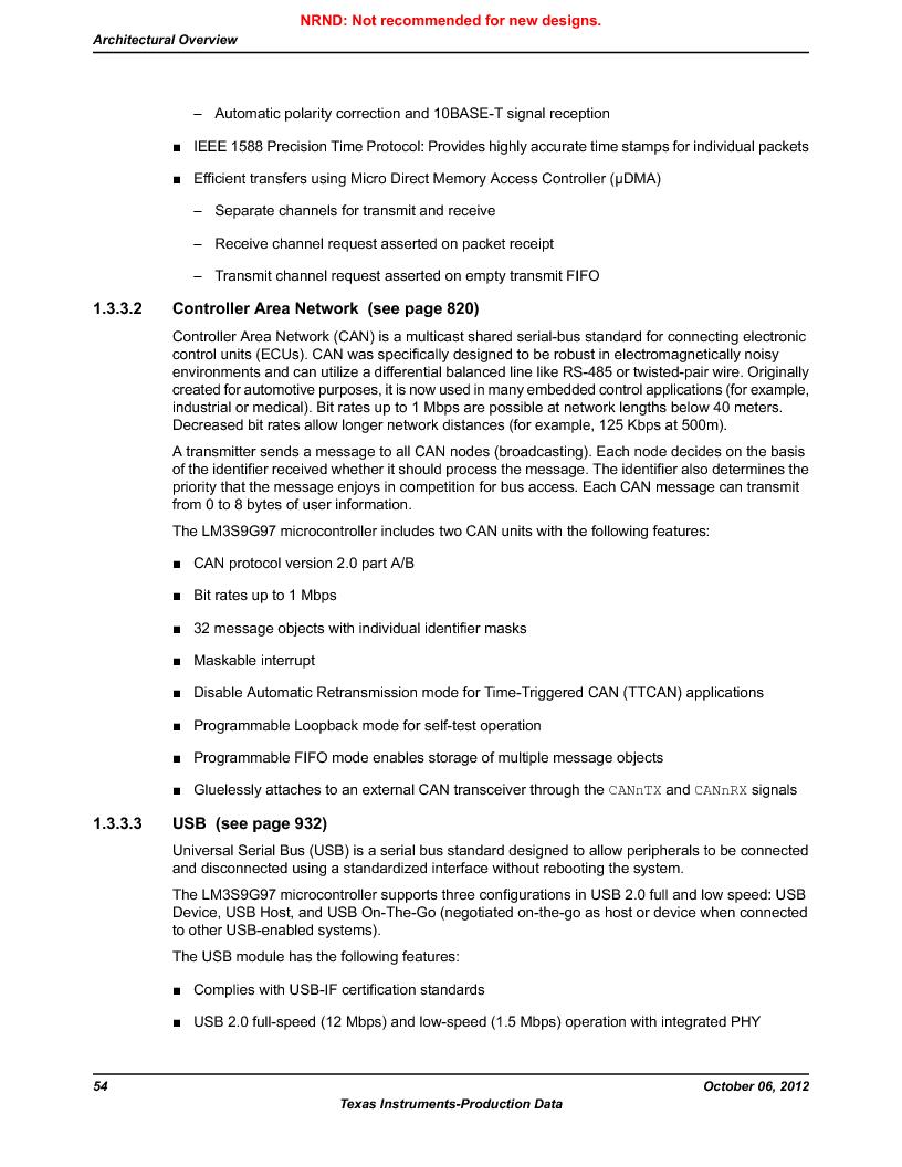 LM3S9G97 ,Texas Instruments厂商,Stellaris LM3S Microcontroller 108-NFBGA -40 to 85, LM3S9G97 datasheet预览  第54页