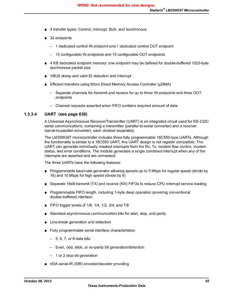 LM3S9G97 ,Texas Instruments厂商,Stellaris LM3S Microcontroller 108-NFBGA -40 to 85, LM3S9G97 datasheet预览  第55页