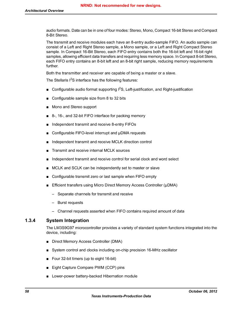 LM3S9G97 ,Texas Instruments厂商,Stellaris LM3S Microcontroller 108-NFBGA -40 to 85, LM3S9G97 datasheet预览  第58页