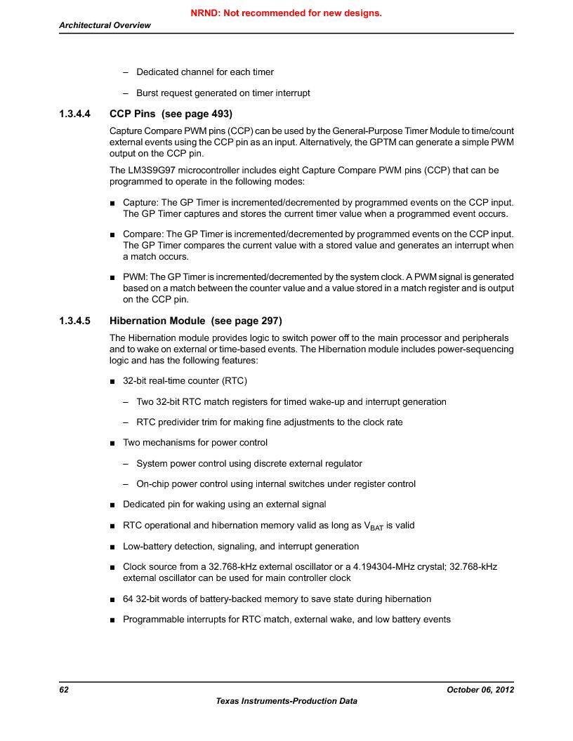 LM3S9G97 ,Texas Instruments厂商,Stellaris LM3S Microcontroller 108-NFBGA -40 to 85, LM3S9G97 datasheet预览  第62页
