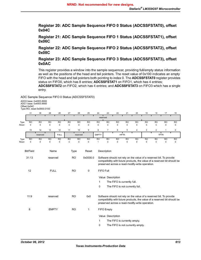 LM3S9G97 ,Texas Instruments厂商,Stellaris LM3S Microcontroller 108-NFBGA -40 to 85, LM3S9G97 datasheet预览  第613页