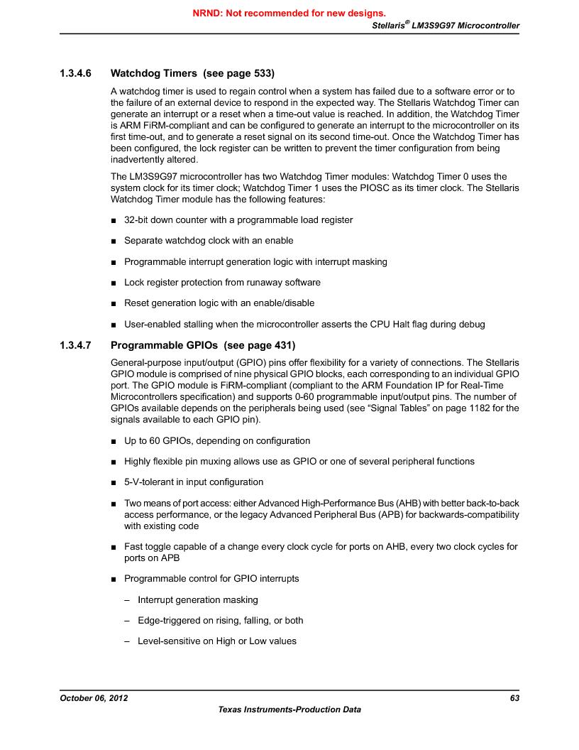 LM3S9G97 ,Texas Instruments厂商,Stellaris LM3S Microcontroller 108-NFBGA -40 to 85, LM3S9G97 datasheet预览  第63页