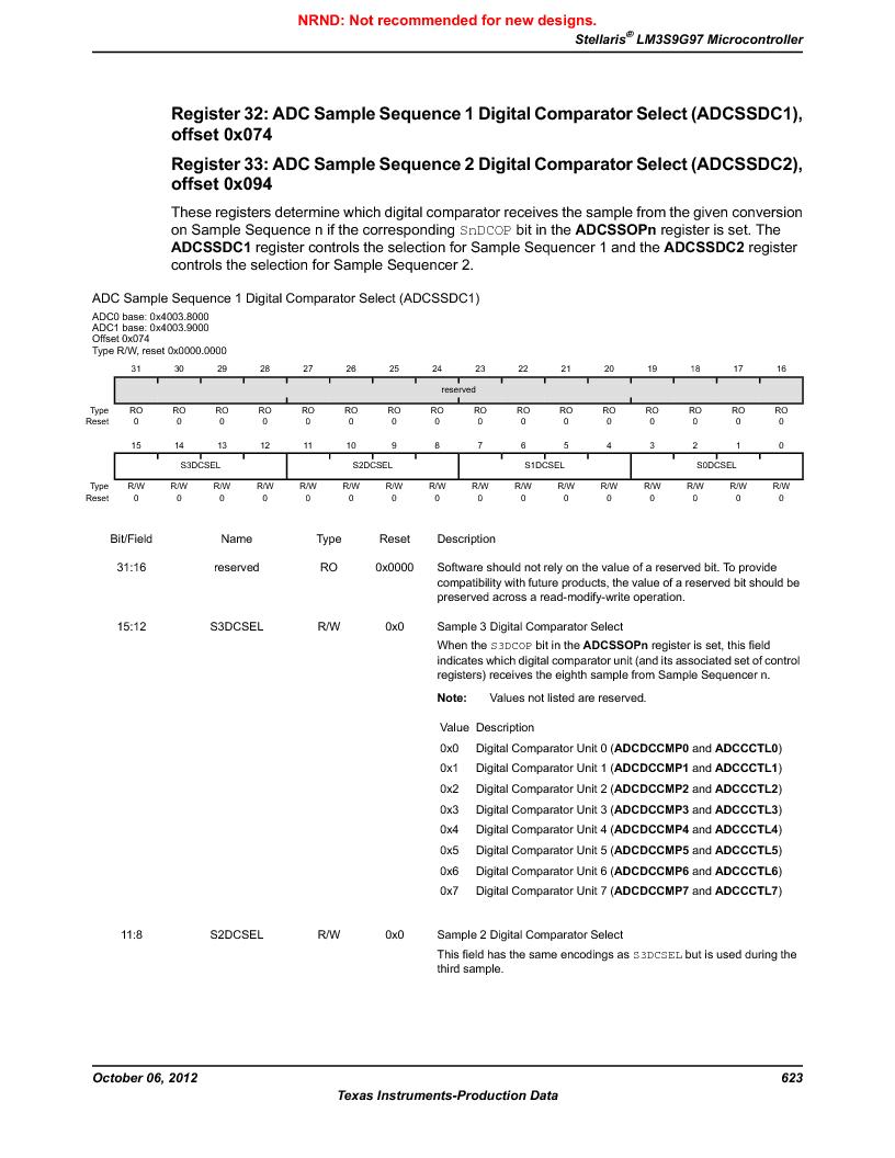 LM3S9G97 ,Texas Instruments厂商,Stellaris LM3S Microcontroller 108-NFBGA -40 to 85, LM3S9G97 datasheet预览  第623页