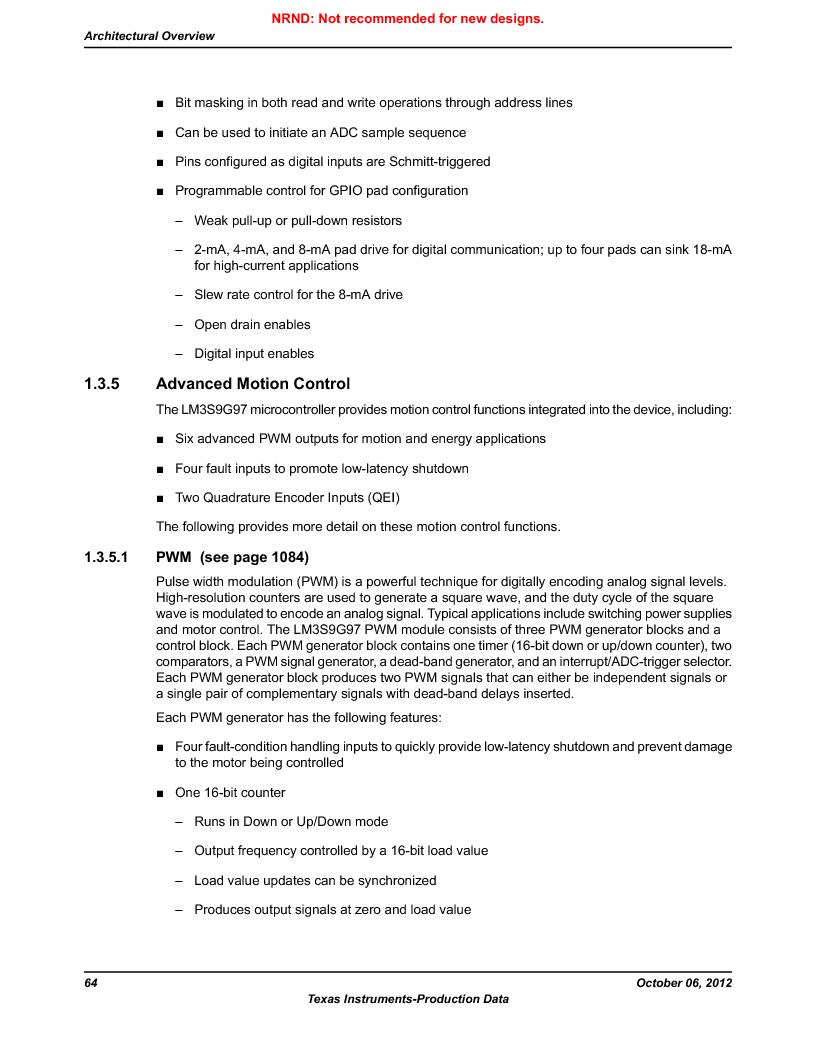 LM3S9G97 ,Texas Instruments厂商,Stellaris LM3S Microcontroller 108-NFBGA -40 to 85, LM3S9G97 datasheet预览  第64页