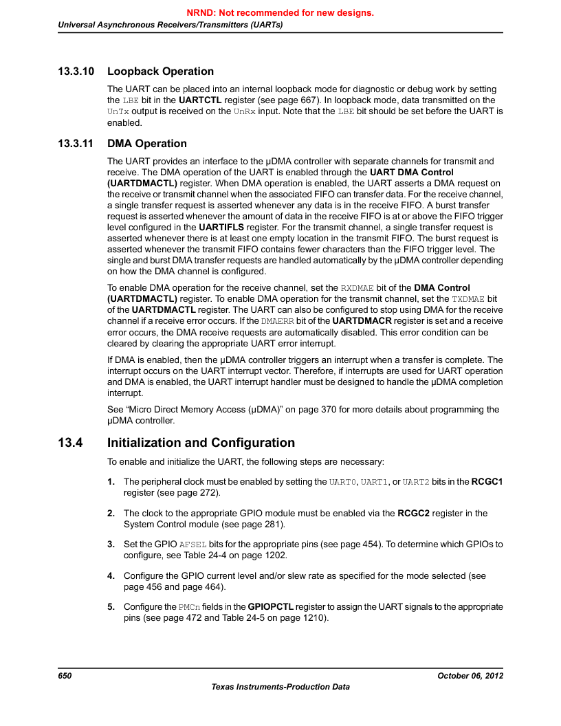 LM3S9G97 ,Texas Instruments厂商,Stellaris LM3S Microcontroller 108-NFBGA -40 to 85, LM3S9G97 datasheet预览  第650页