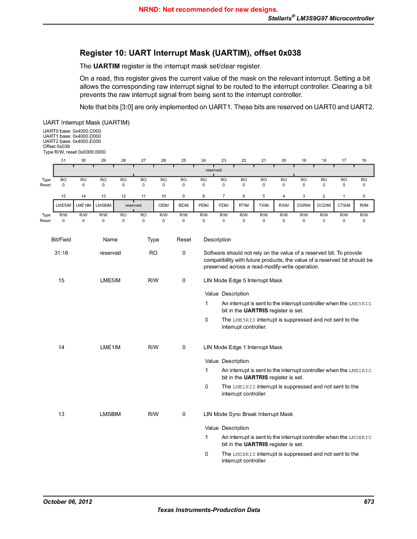 LM3S9G97 ,Texas Instruments厂商,Stellaris LM3S Microcontroller 108-NFBGA -40 to 85, LM3S9G97 datasheet预览  第673页