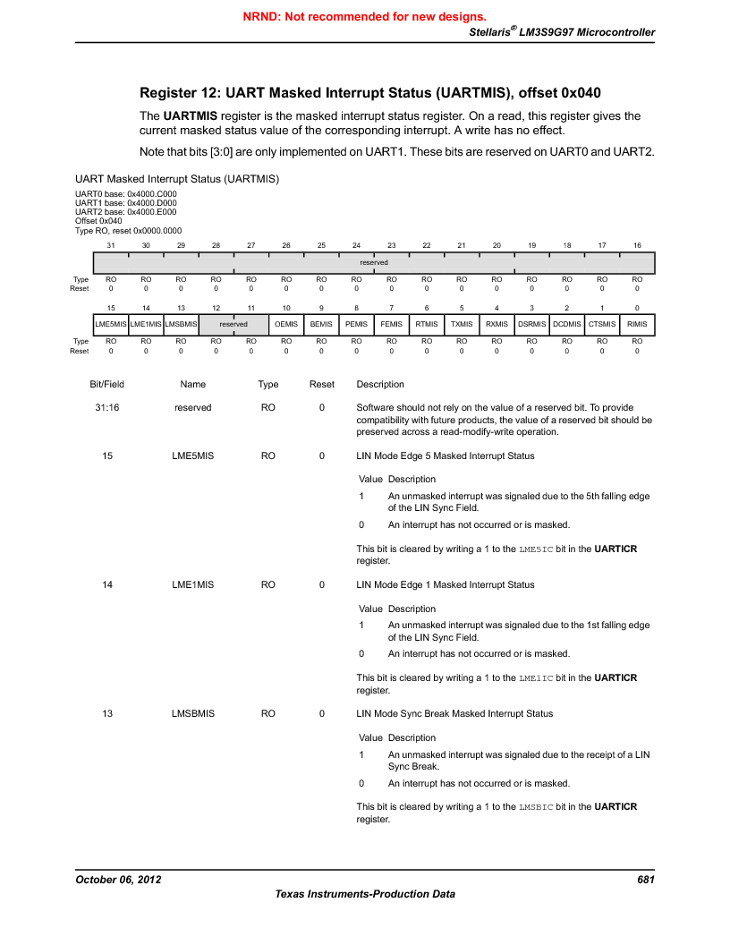 LM3S9G97 ,Texas Instruments厂商,Stellaris LM3S Microcontroller 108-NFBGA -40 to 85, LM3S9G97 datasheet预览  第681页