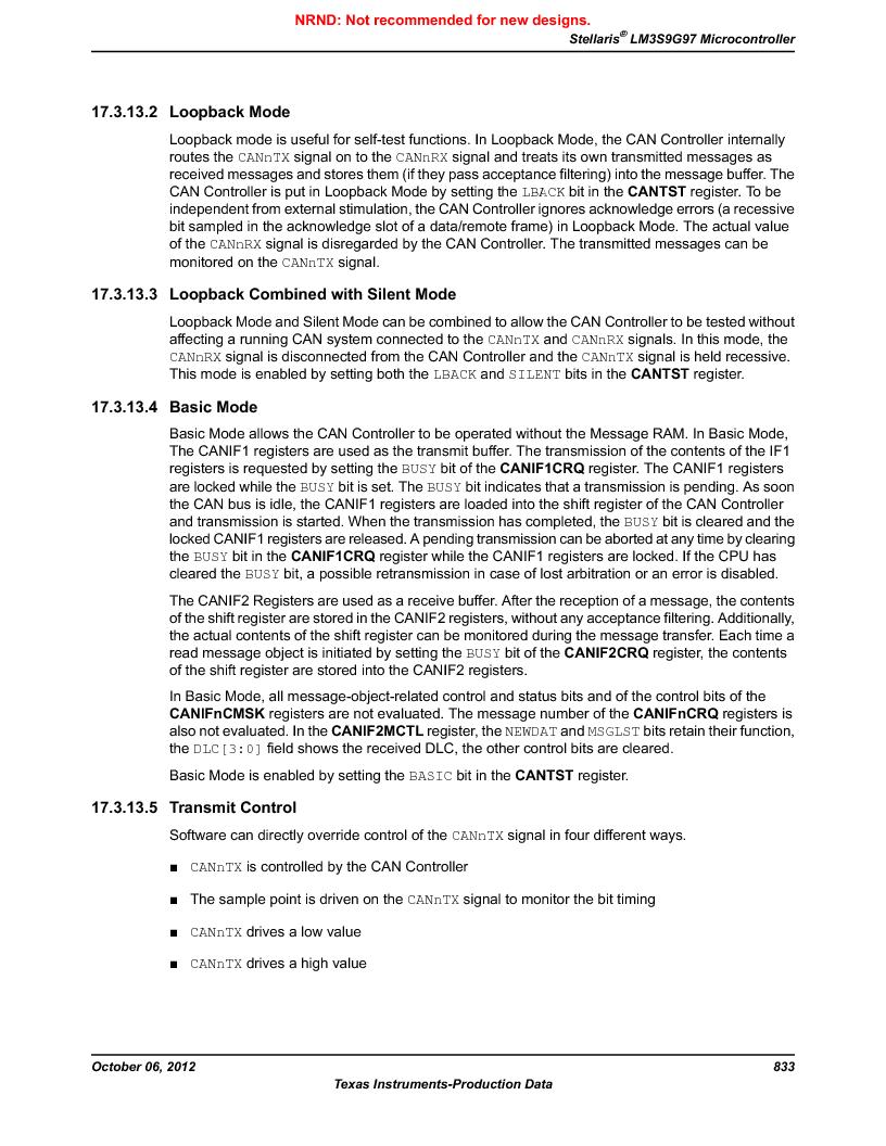 LM3S9G97 ,Texas Instruments厂商,Stellaris LM3S Microcontroller 108-NFBGA -40 to 85, LM3S9G97 datasheet预览  第833页