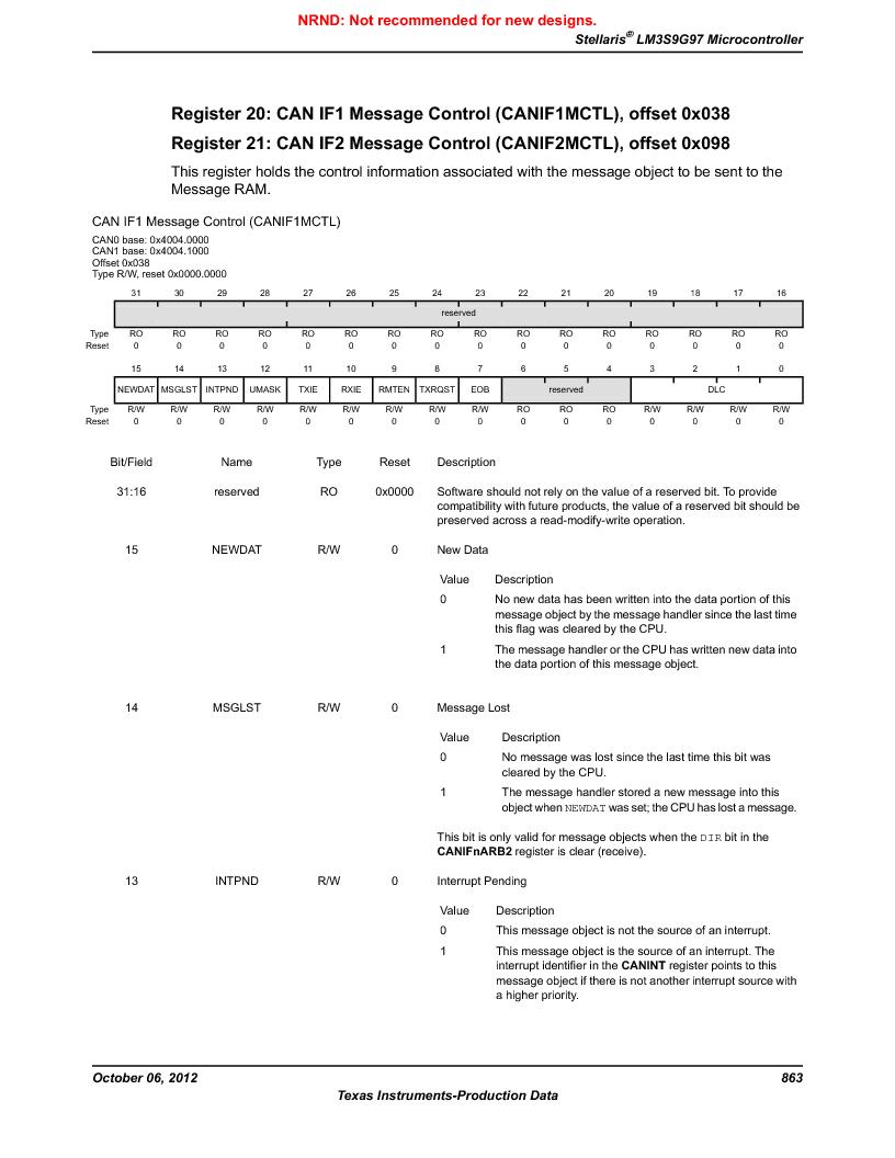 LM3S9G97 ,Texas Instruments厂商,Stellaris LM3S Microcontroller 108-NFBGA -40 to 85, LM3S9G97 datasheet预览  第863页