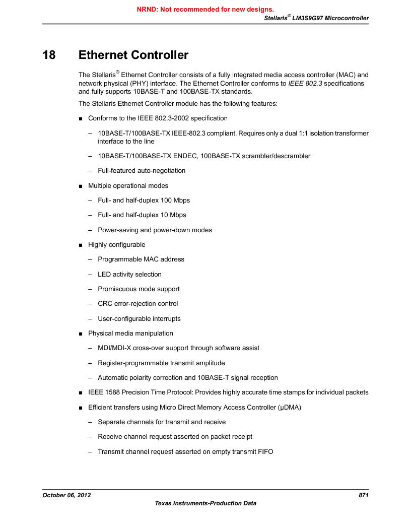 LM3S9G97 ,Texas Instruments厂商,Stellaris LM3S Microcontroller 108-NFBGA -40 to 85, LM3S9G97 datasheet预览  第871页