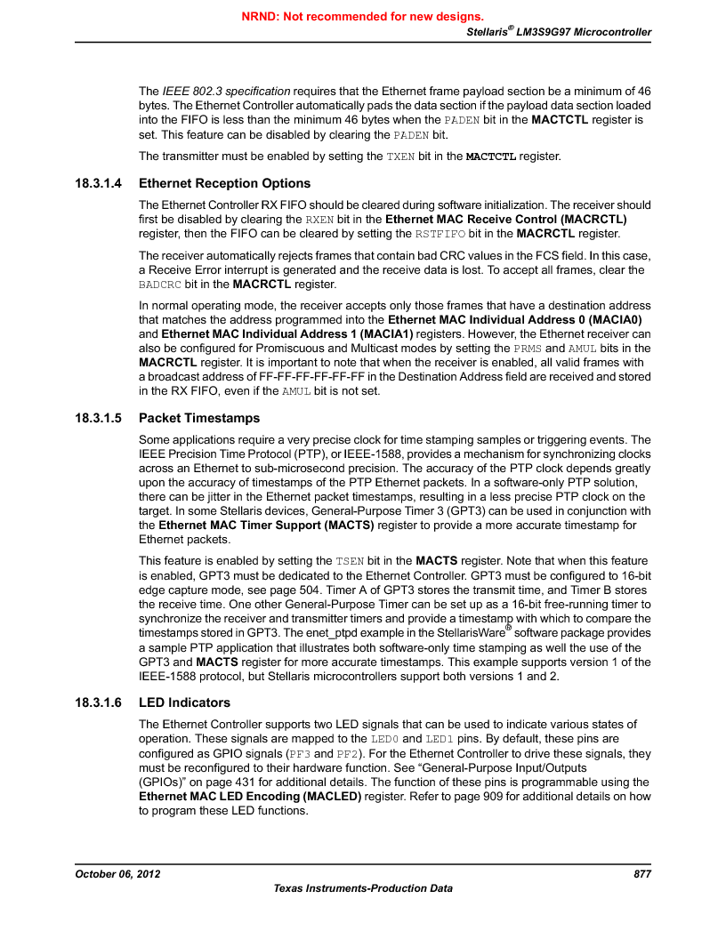 LM3S9G97 ,Texas Instruments厂商,Stellaris LM3S Microcontroller 108-NFBGA -40 to 85, LM3S9G97 datasheet预览  第877页