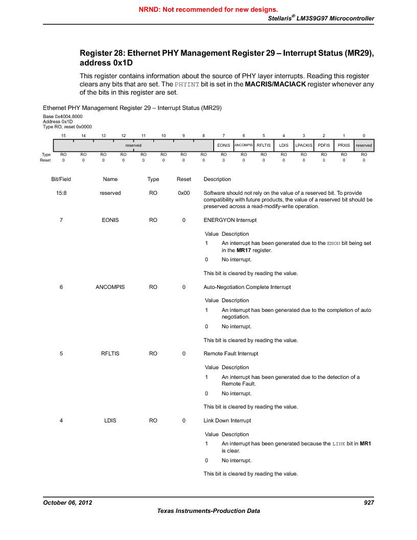 LM3S9G97 ,Texas Instruments厂商,Stellaris LM3S Microcontroller 108-NFBGA -40 to 85, LM3S9G97 datasheet预览  第927页