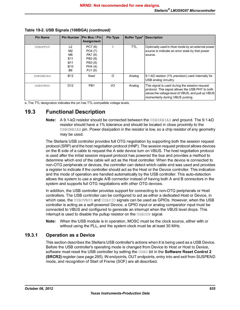 LM3S9G97 ,Texas Instruments厂商,Stellaris LM3S Microcontroller 108-NFBGA -40 to 85, LM3S9G97 datasheet预览  第935页