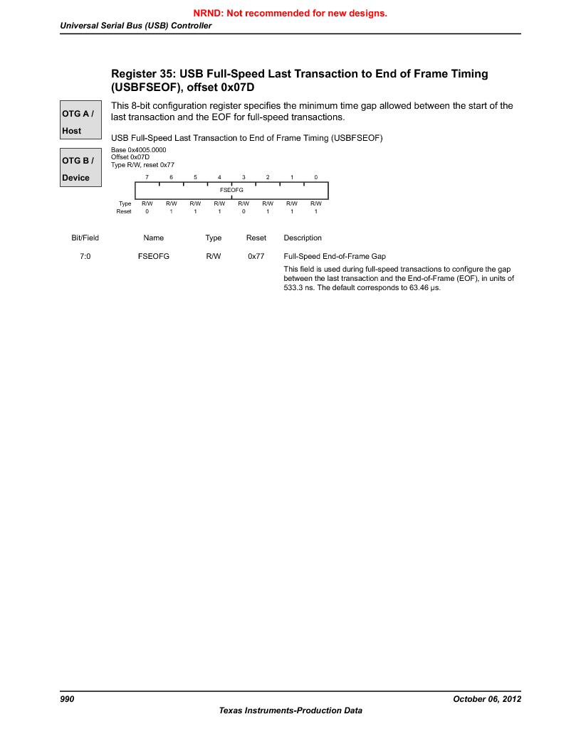 LM3S9G97 ,Texas Instruments厂商,Stellaris LM3S Microcontroller 108-NFBGA -40 to 85, LM3S9G97 datasheet预览  第990页