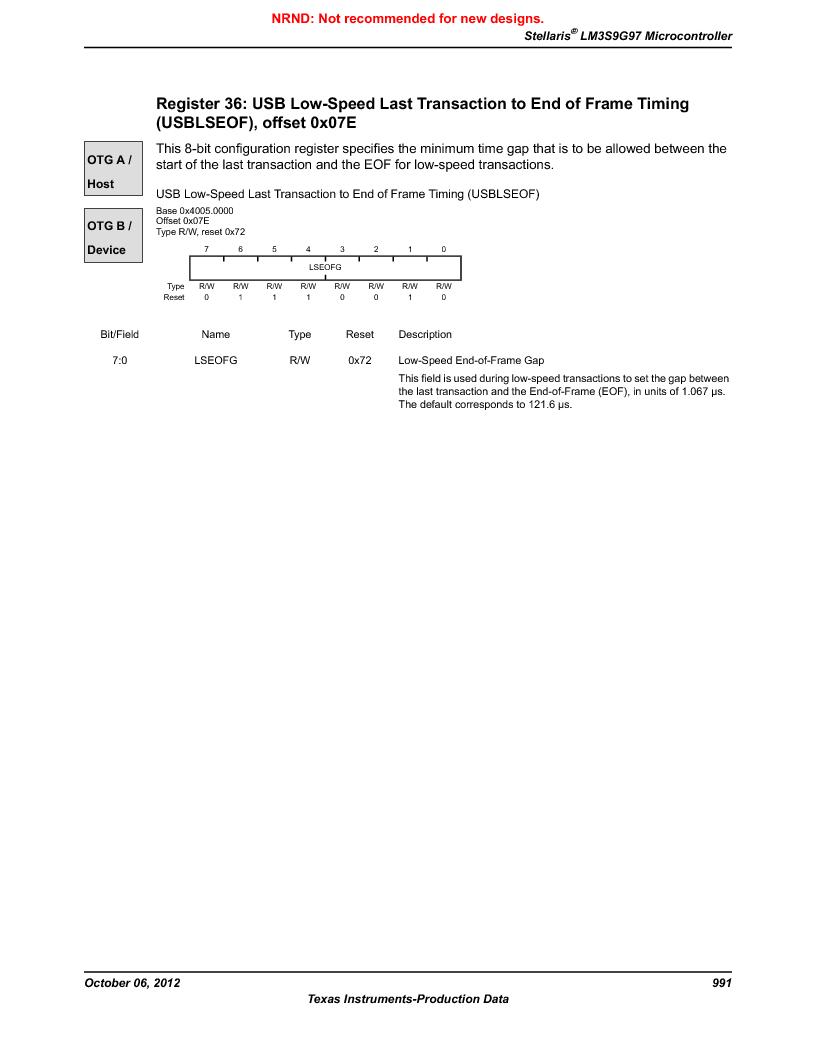 LM3S9G97 ,Texas Instruments厂商,Stellaris LM3S Microcontroller 108-NFBGA -40 to 85, LM3S9G97 datasheet预览  第991页