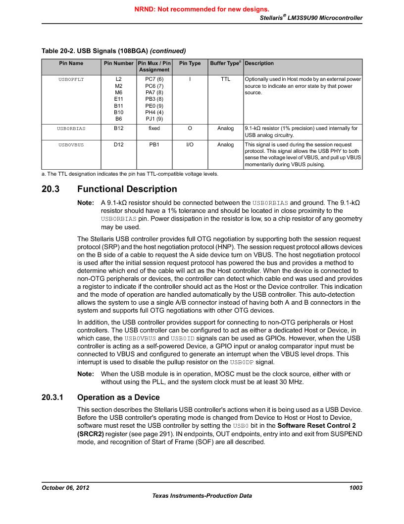 LM3S9U90 ,Texas Instruments厂商,Stellaris LM3S Microcontroller 108-NFBGA -40 to 85, LM3S9U90 datasheet预览  第1003页
