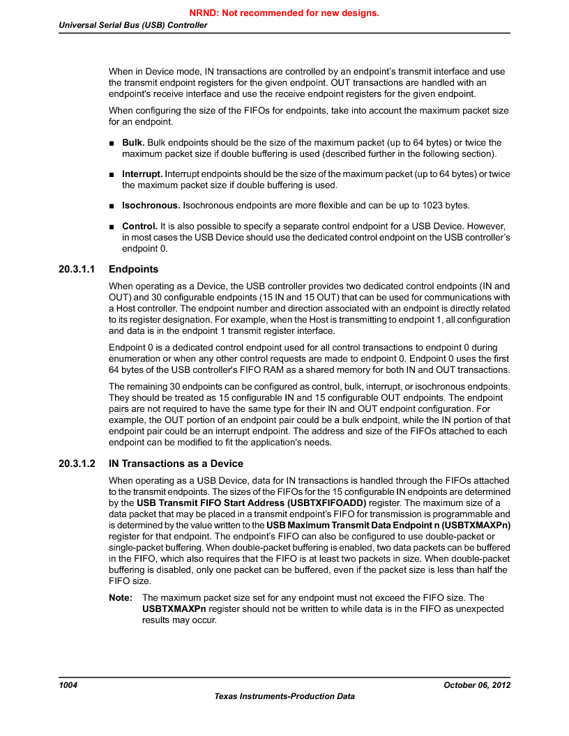 LM3S9U90 ,Texas Instruments厂商,Stellaris LM3S Microcontroller 108-NFBGA -40 to 85, LM3S9U90 datasheet预览  第1004页