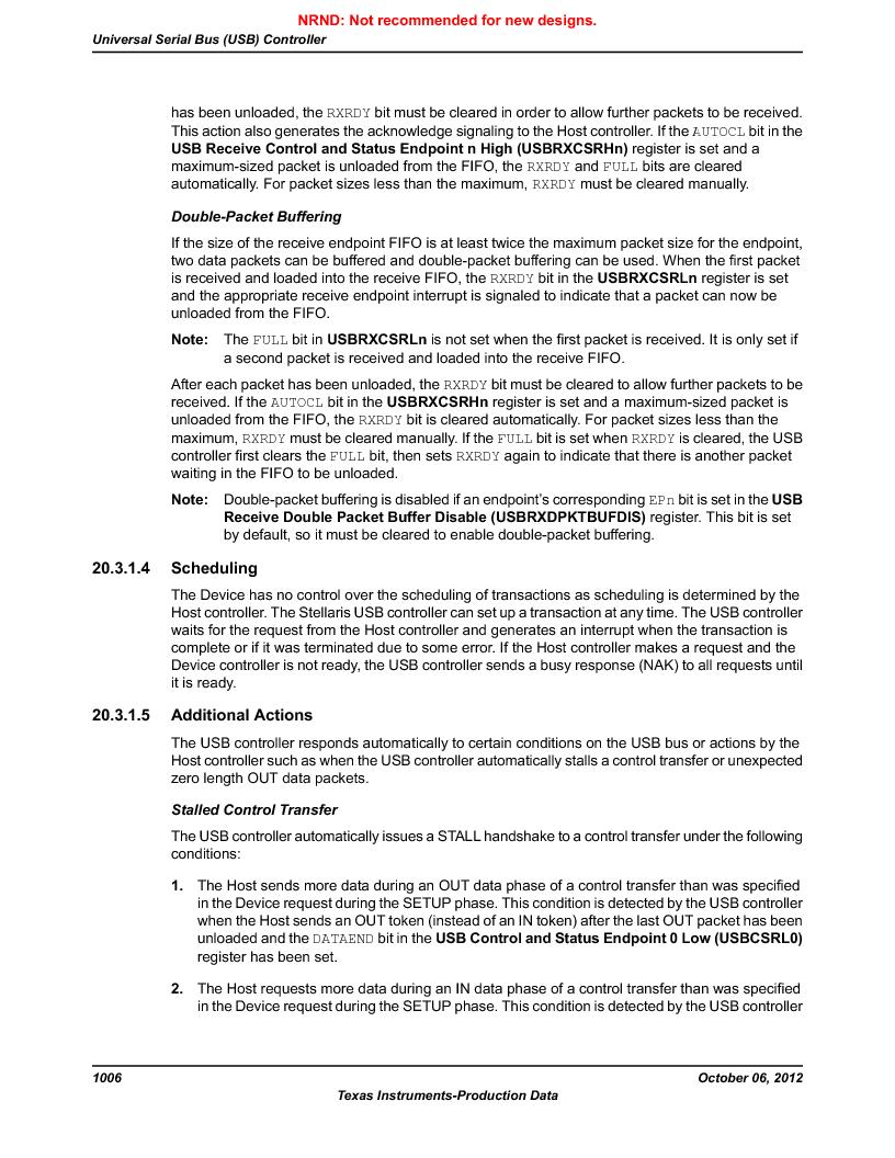 LM3S9U90 ,Texas Instruments厂商,Stellaris LM3S Microcontroller 108-NFBGA -40 to 85, LM3S9U90 datasheet预览  第1006页