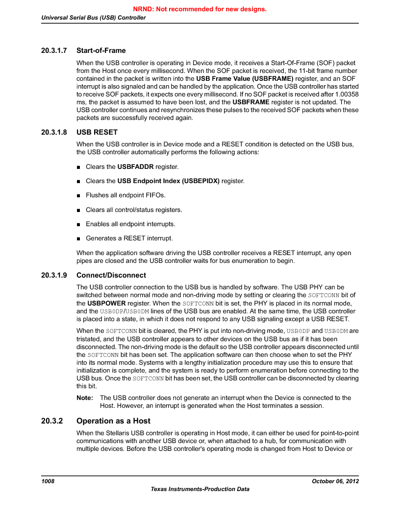 LM3S9U90 ,Texas Instruments厂商,Stellaris LM3S Microcontroller 108-NFBGA -40 to 85, LM3S9U90 datasheet预览  第1008页