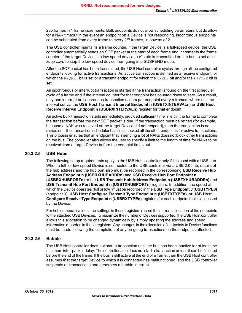 LM3S9U90 ,Texas Instruments厂商,Stellaris LM3S Microcontroller 108-NFBGA -40 to 85, LM3S9U90 datasheet预览  第1011页