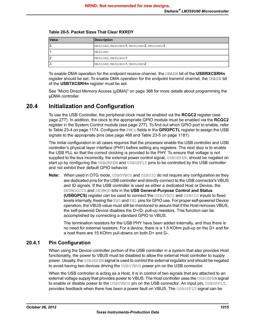 LM3S9U90 ,Texas Instruments厂商,Stellaris LM3S Microcontroller 108-NFBGA -40 to 85, LM3S9U90 datasheet预览  第1015页