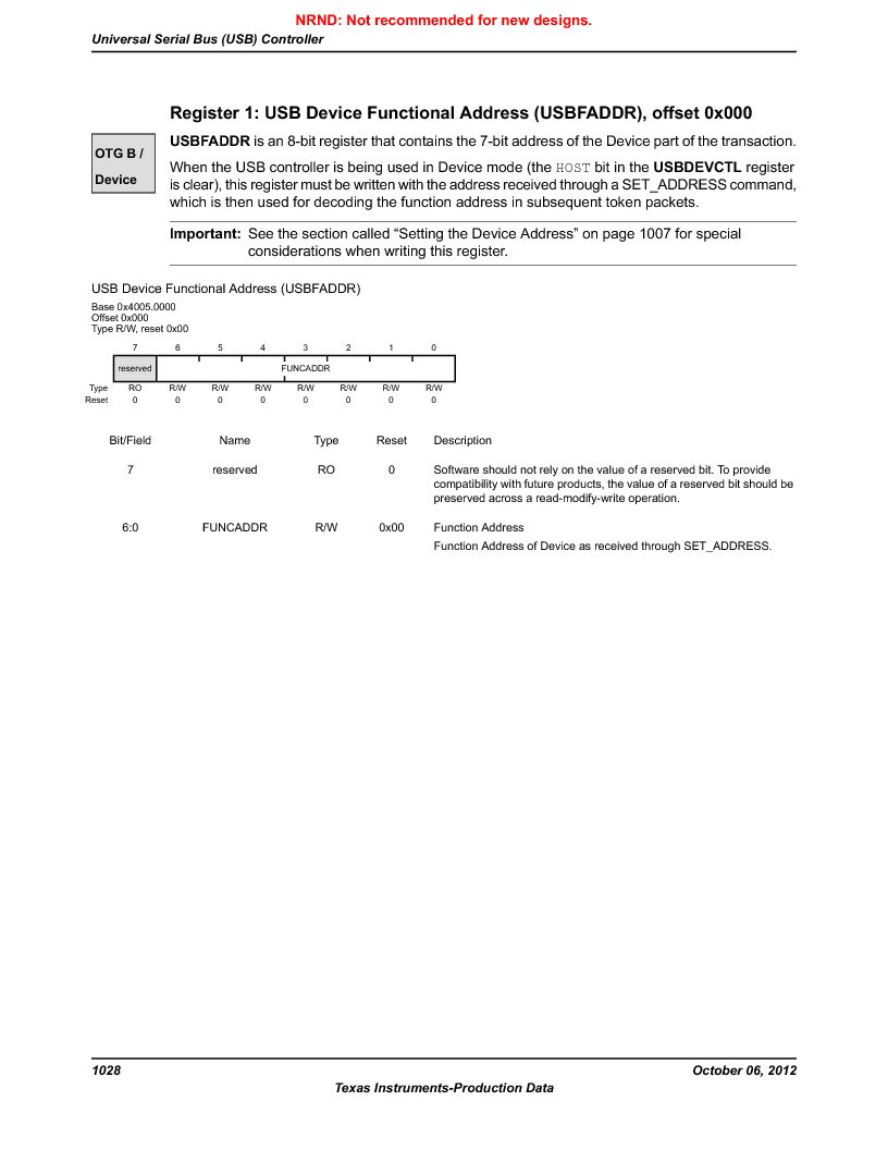 LM3S9U90 ,Texas Instruments厂商,Stellaris LM3S Microcontroller 108-NFBGA -40 to 85, LM3S9U90 datasheet预览  第1028页