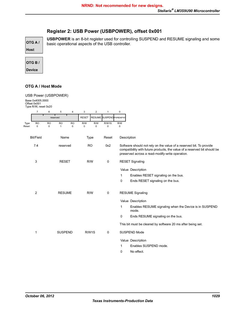 LM3S9U90 ,Texas Instruments厂商,Stellaris LM3S Microcontroller 108-NFBGA -40 to 85, LM3S9U90 datasheet预览  第1029页