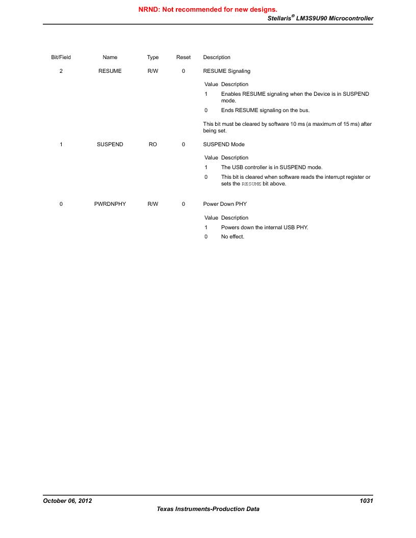 LM3S9U90 ,Texas Instruments厂商,Stellaris LM3S Microcontroller 108-NFBGA -40 to 85, LM3S9U90 datasheet预览  第1031页