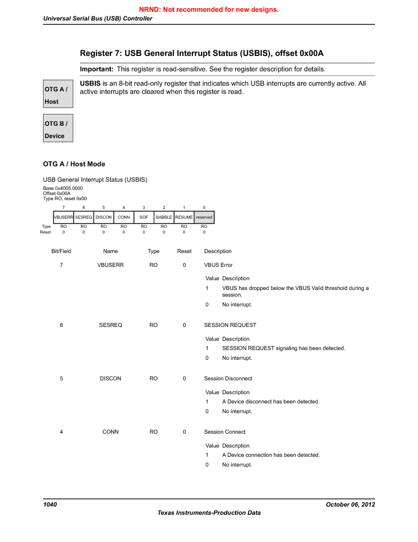 LM3S9U90 ,Texas Instruments厂商,Stellaris LM3S Microcontroller 108-NFBGA -40 to 85, LM3S9U90 datasheet预览  第1040页