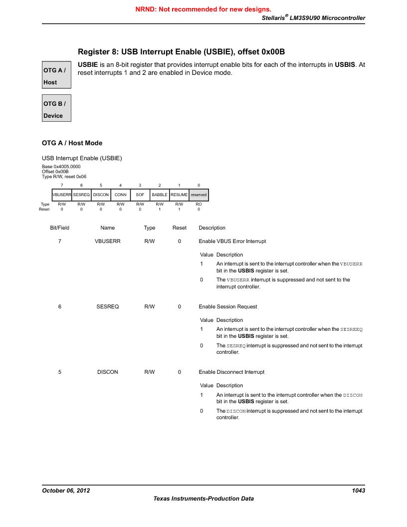 LM3S9U90 ,Texas Instruments厂商,Stellaris LM3S Microcontroller 108-NFBGA -40 to 85, LM3S9U90 datasheet预览  第1043页